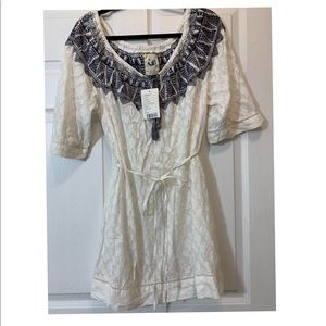 ANTHROPOLOGIE MERMAID NEW WHITE SHEER TUNIC SZ M